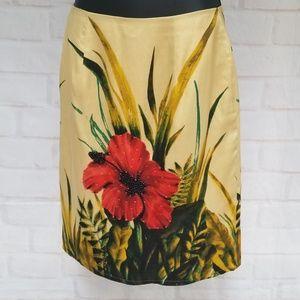 Silk Club Silk Floral Beaded Pencil Skirt